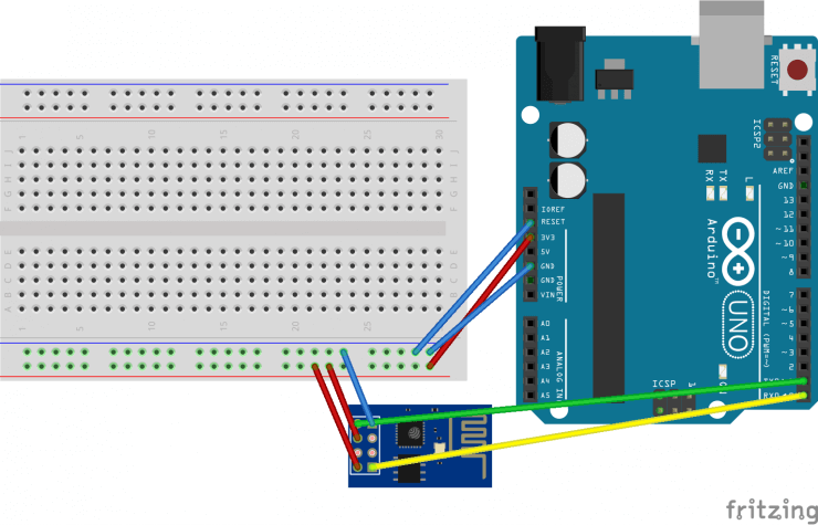 Arduino UNO connected to ESP-8266-01