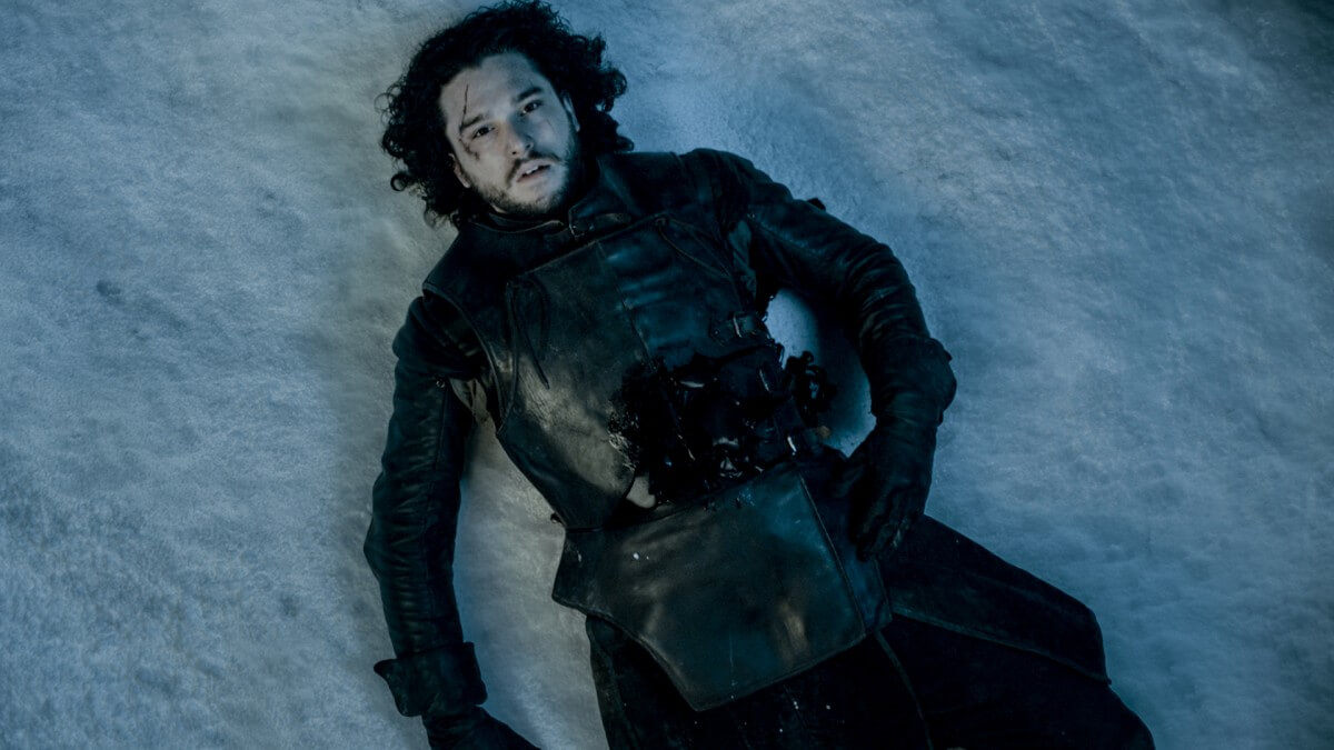 Jon Snow sleeping in the snow
