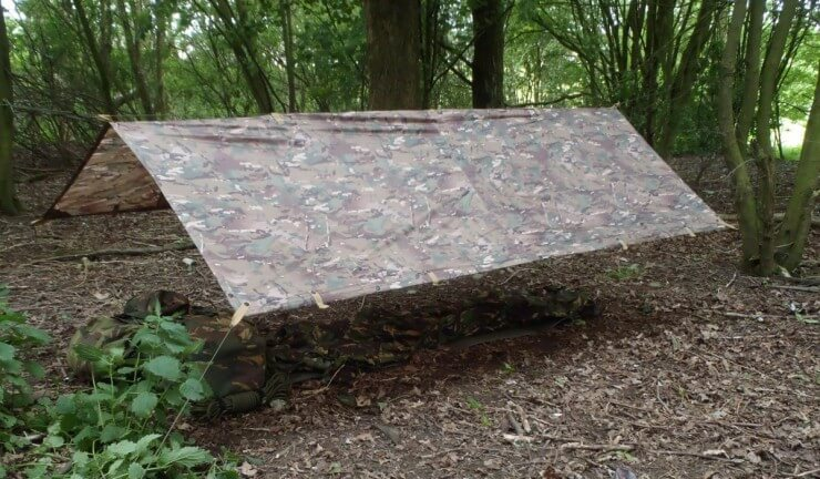 british army basha map in the woods